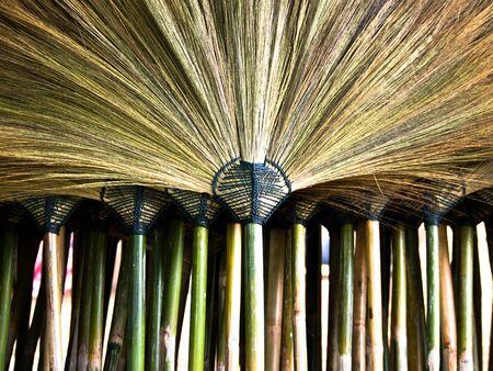 broom handle: handle of broom make from bamboo.