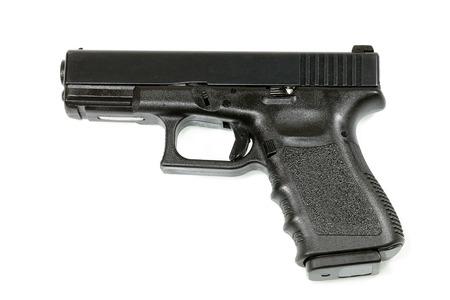 Automatic handgun on white background. photo