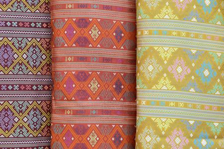 Thailand beautiful silk patterned fabric. Stock Photo