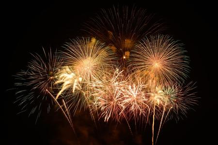 Fuochi d'artificio sullo sfondo del cielo nero Archivio Fotografico - 34212063