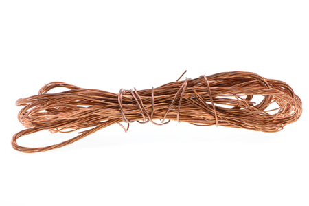 copper wire: copper wire isolated on white background Stock Photo