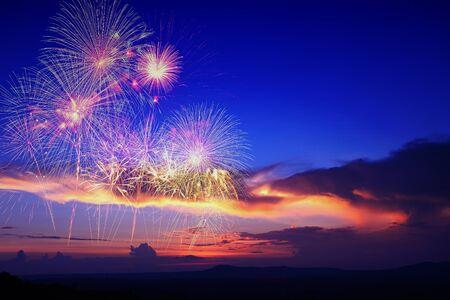 romance sky: fireworks in sky twilight