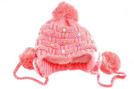 knitten: knitted wool hat isolated on white background Stock Photo