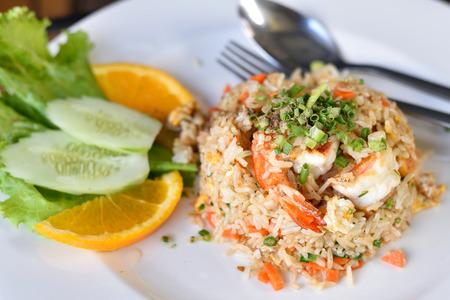 Fried rice with shrimp Reklamní fotografie