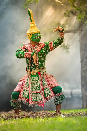 The pantomime (Khon) Thai traditional dance of the Ramayana dance drama on the beach, thailand.
