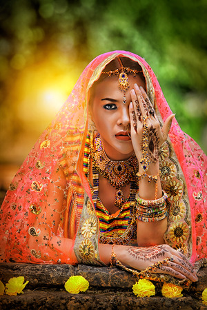 Close up Beautiful indian girl Young hindu woman model with kundan jewelry, Portrait of beautiful indian girl, Traditional Indian costume lehenga choli.