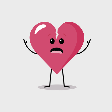 terrified: Terrified broken heart character Illustration