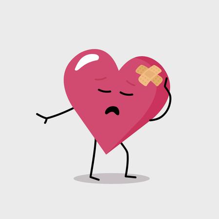 heart damage: Funny character with heart damage making drama Illustration