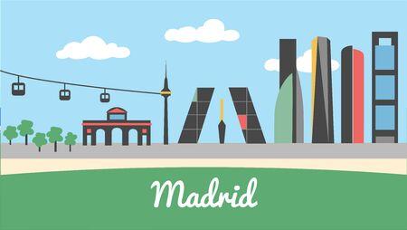 Skyline city of Madrid Spain