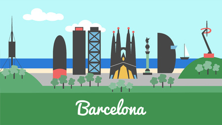 Skyline city of Barcelona in Catalonia Spain Illustration
