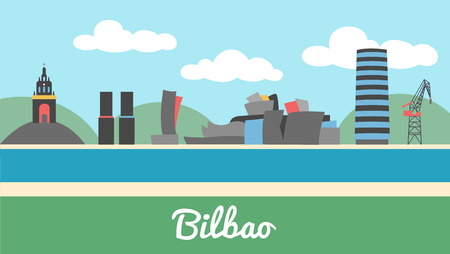bilbao: Skyline of Bilbao city in Basque Country Spain Illustration