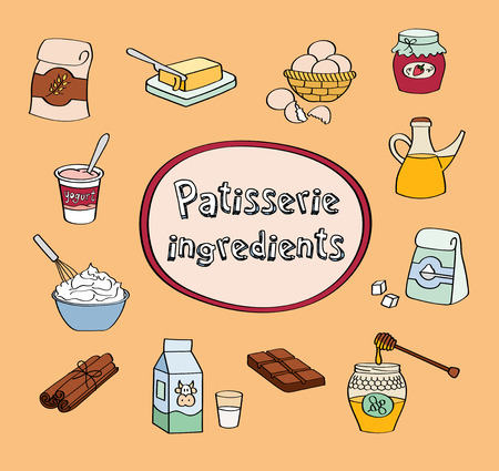 patisserie: Illustration of patisserie ingredients