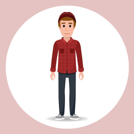 red plaid: Cute character hipster boy with cap and a red plaid shirt