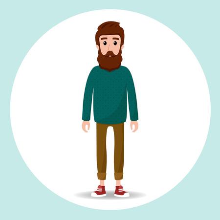 uomini belli: Hipster simpatico personaggio con la barba e pullover