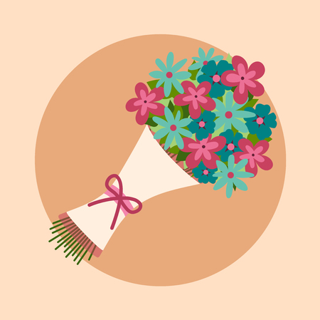 mazzo di fiori: Mazzo di fiori. Design per matrimonio, San Valentino, compleanno. Colori luminosi. Vettoriali
