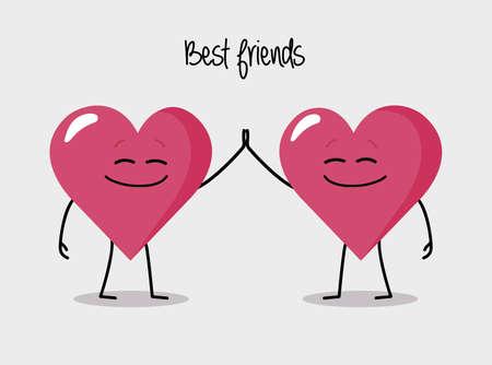 Gelukkig hart personages geven vijf beste vrienden