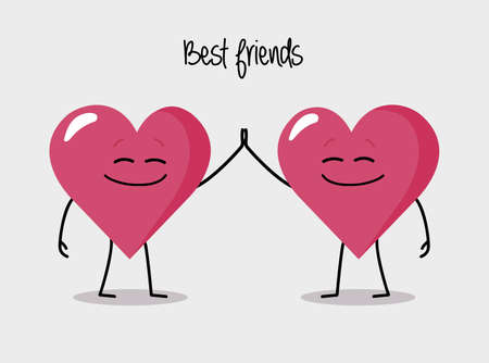 Happy heart characters giving five best friends