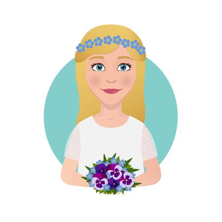 bride bouquet: Pretty hipster or hippie bride with bridal bouquet. Pansy flowers.