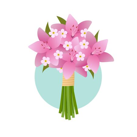 birthday presents: Bouquet of lily flowers. Wedding, Valentines Day or birthday. Illustration