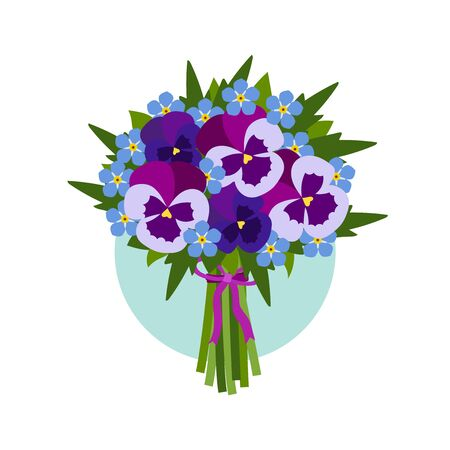pansy: Bouquet of pansy flowers. Wedding, Valentines Day or birthday. Illustration