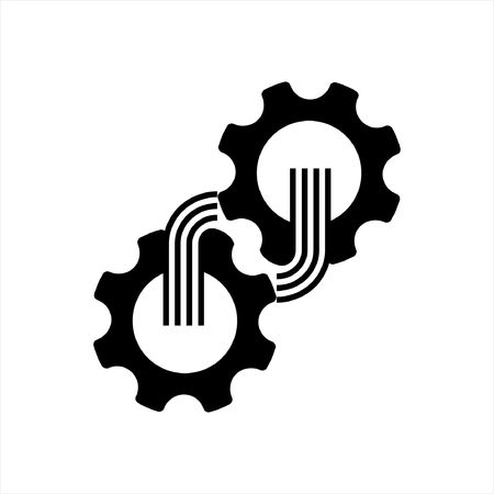 gear mechanism or cog icon on a white background
