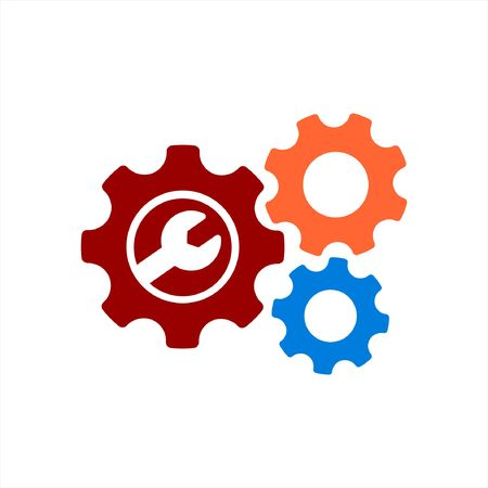 Gear or cog setting vector icon in colorful mode on a white background 일러스트