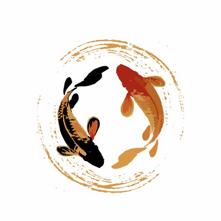 couple of koi fish in japan or china art style for luck, prosperity, and good fortune Иллюстрация