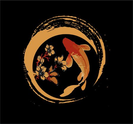 cKoi fish and sakura flower logo, luck, prosperity, and good fortune
