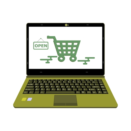 laptop vector for Online shop basket good and payment