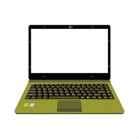 yellow and green color laptop vector illustration Ilustração