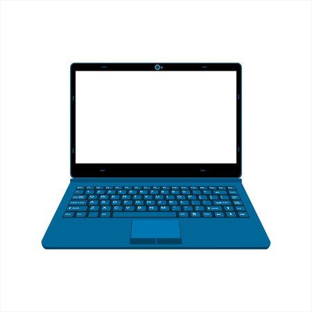 blue color laptop vector illustration