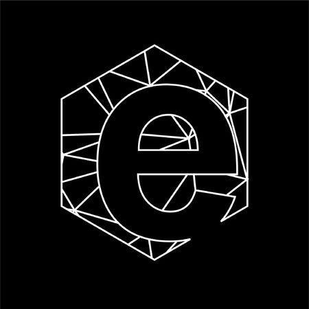 e initials geometric line art and triangle blockchain logo