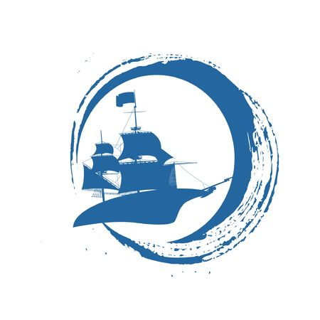 cruiser ship blue water wind in the sea logo and icon