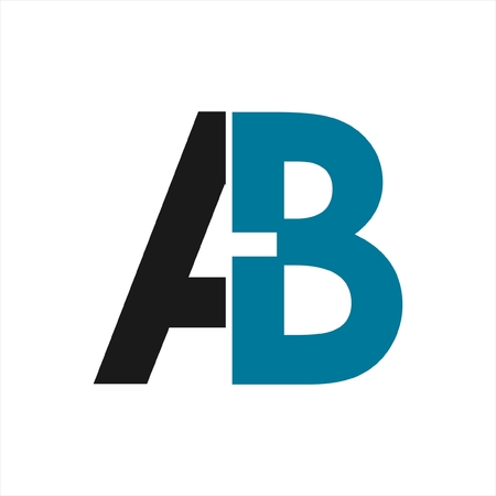 AB initials geometric letter company logo