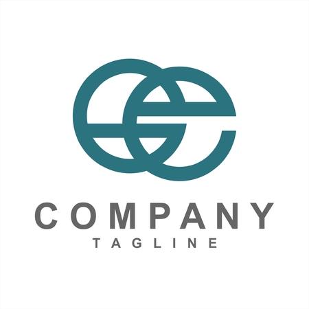 simple line art Ge initials company logo