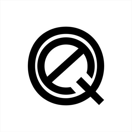 simple line art AQ, QA initials geometric company logo Illustration