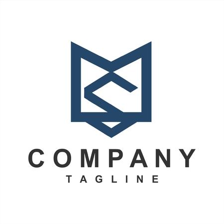 simple geometric line art MS, SM initials company logo