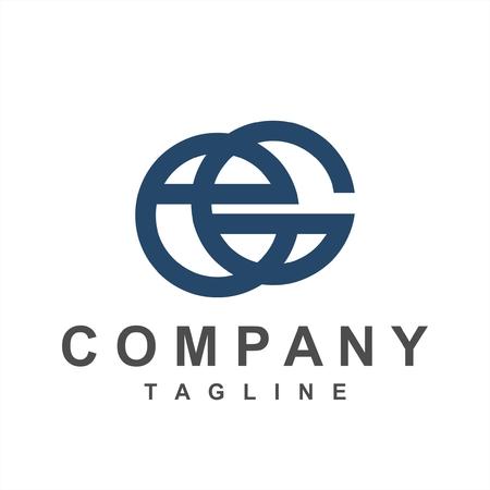 simple geometric line art eG, Ge, ecG initials company logo