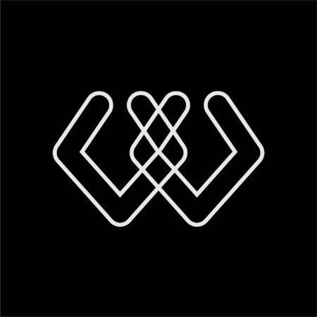 simple WY, WA, WX initials line art company logo 스톡 콘텐츠 - 124536028