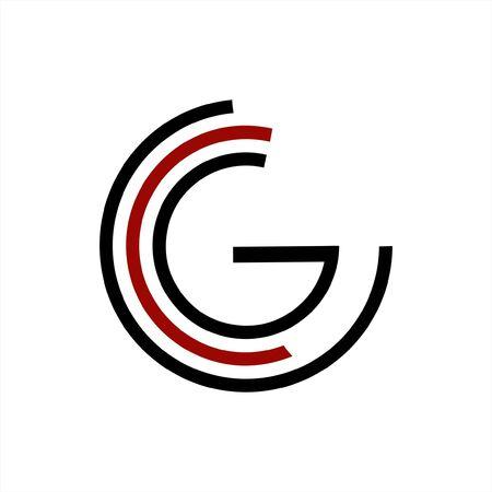 simple G, CCG, CG initials geometric network line logo Illustration