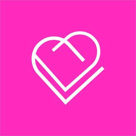 VV, VD line art geometric heart logo