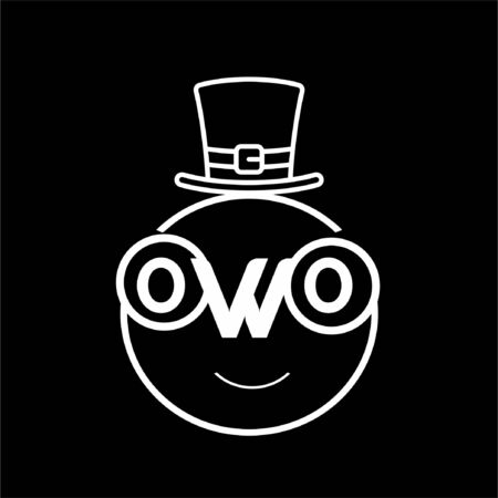 owo initials ice man shape icon and vector logo