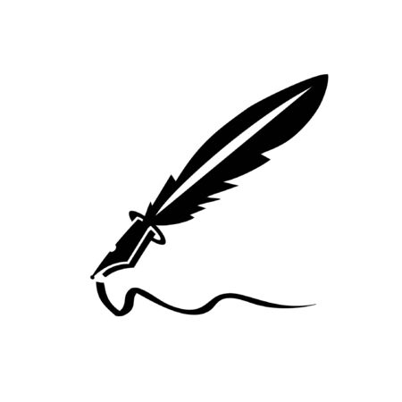 simple feather ink pen icon and vector logo Çizim