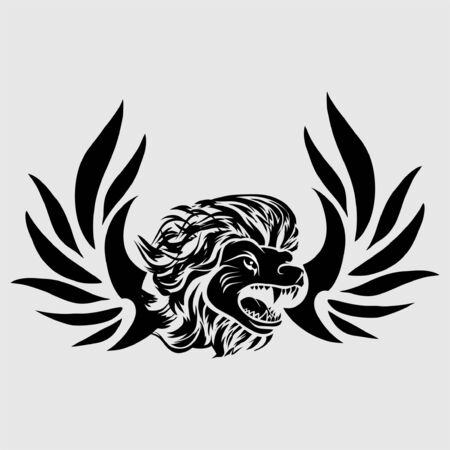 tribal tattoo viking lion head illustration and vector logo 写真素材 - 126065777