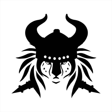 tribal tattoo viking lion head illustration and vector logo