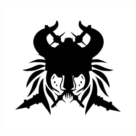 tribal tattoo viking lion head illustration and vector logo 写真素材 - 126496363