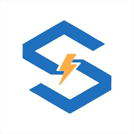 simple S, CSC initials electrical switch company logo and vector icon 向量圖像