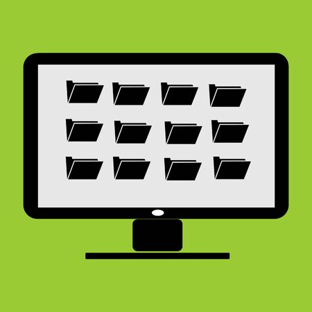 folder thumbnail in LC monitor PC computer vector illustration and icon Illustration
