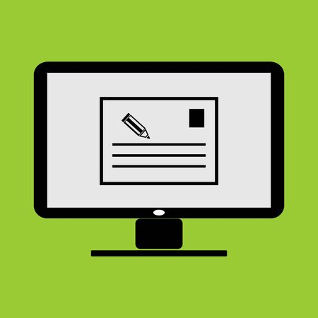 note pad or memo thumbnail application in LC monitor PC computer vector illustration and icon Illustration
