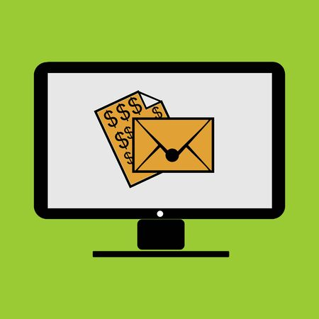 payment email from online business in monitor PC computer illustration Illustration